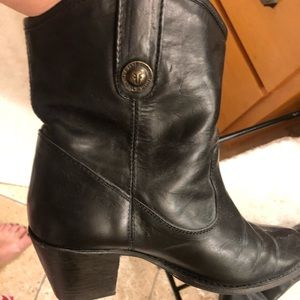 Frye Black Leather Bootie .. small heel